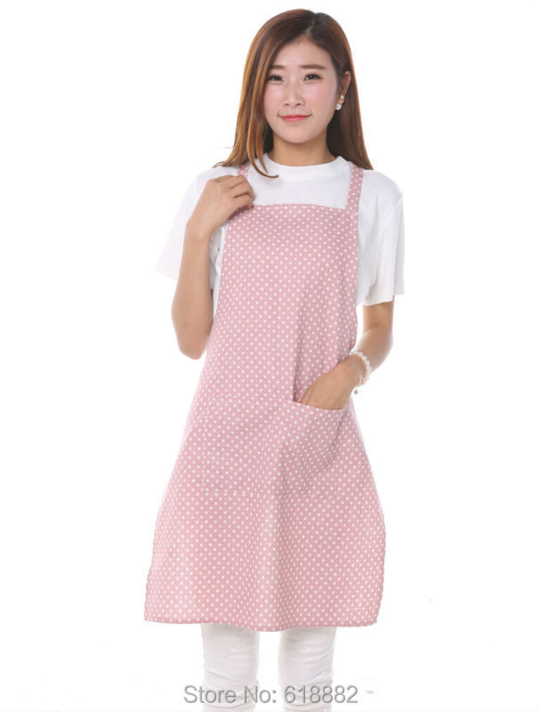 2015 New Cute Dot Women Kitchen Restaurant Bib Cooking Aprons With Pocket Hot Selling(China (Mainland))