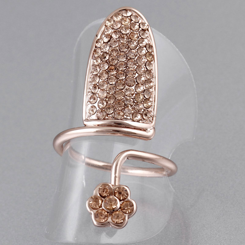 Fashion jewelry punk Stone crystal inlaid ring 24K gold plated finger nail party Rings for women new Sale free shipping R131(China (Mainland))