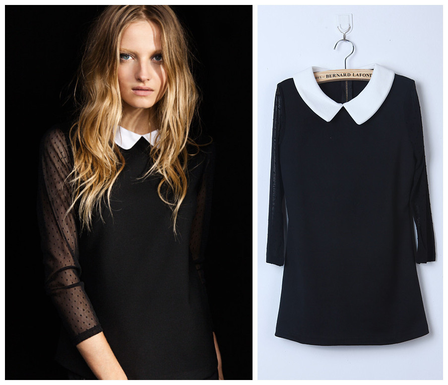 Womens Black Collared Shirt