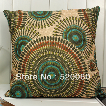 """17"""" Vtg Indian Ethnic Style Circle Pattern Soft Square Throw Pillow Cushion Saddle Cover Home Couch Sofa Decor Decoration Green"""