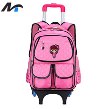 NAITUO Trolley Travel School Bags for Girls Three Wheels Waterproof Children Backpacks Rolling Luggage Schoolbag(China (Mainland))