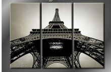 Huge 3 Panel wall painting France Paris Eiffel Tower Cheap! 100% Hand Abstract  Wall Decor Oil Painting On Canvas 3 Piece Art(China (Mainland))