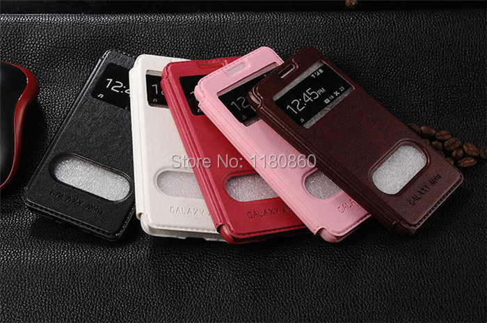 Luxury Ultra thin Flip Sheepskin Leather Case For Samsung Galaxy Alpha G850F G850 cases Lite View Windows Stand free shipping(China (Mainland))