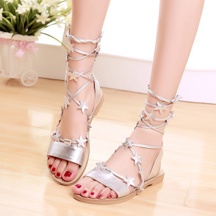 2015 summer new stars in open-toed Genuine Leather sandals Ankle Strap Rome gladiator sandals women aquazzura(China (Mainland))