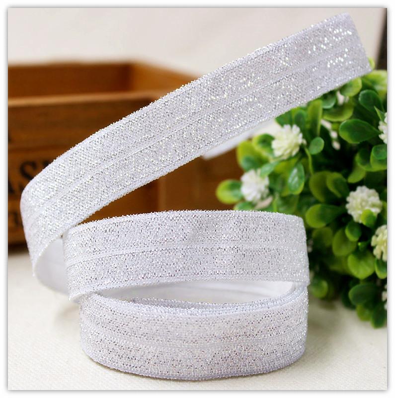 155688 , 5/8inch 16MM Rainbow glitter ribbon Fold Over Elastic FOE 10yards, clothing accessories, headwear elastic band(China (Mainland))