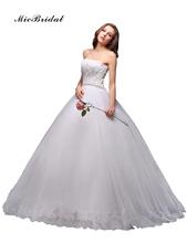 MicBridal 2016 Free Shipping A-line Strapless Beading Applique White Floor-Length Bridal Gown Wedding Dress vestido de noiva(China (Mainland))