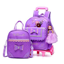 Children School bags Set with 2/6 Wheels Primary student trolley backpack Girls rolling luggage travel bag on wheels Bagpack(China)