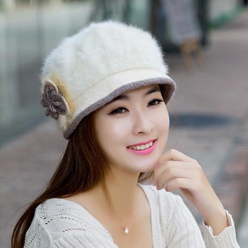 white flower angola rabbit fur bucket hats warm big size headwear chapeu women winter free shipping wholesale rayon beret(China (Mainland))