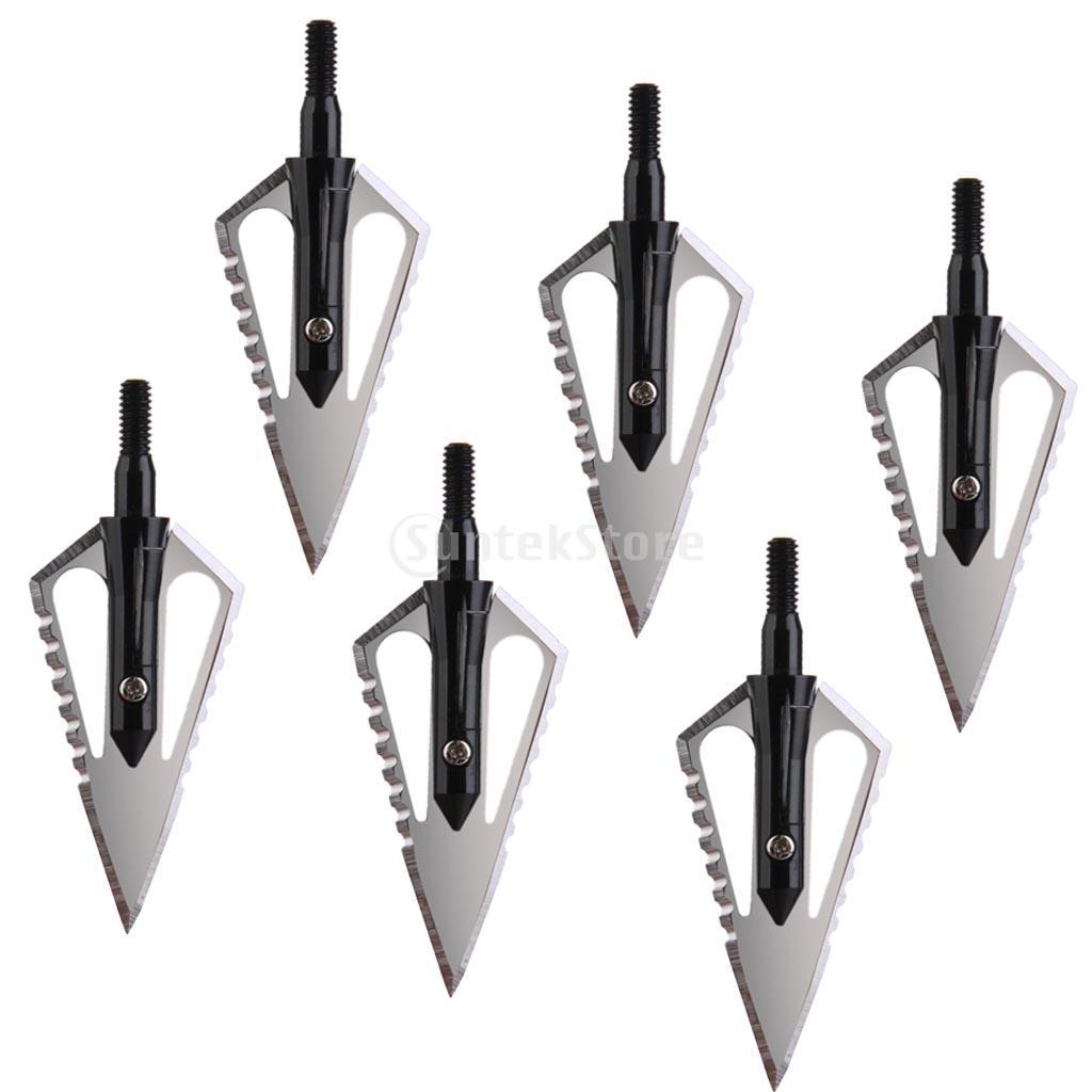 SUNTEK 6pcs Arrow Broadheads 100gr 4 Blades Hunting Points Arrow Tips Archery Black Free Shipping