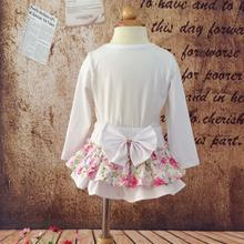New Baby Pink Flower Printing Cotton Cake Skirt Girls 2Layer Ruffles Ballet Pettiskirt with White Bow Kids Summer Short Culottes(China (Mainland))