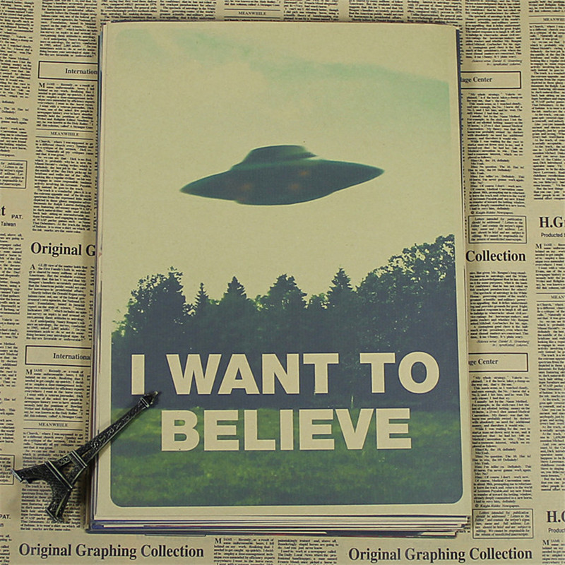 "retro kraft vintage paper ""X FILES I WANT TO BELIEVE "" wall stickers home decor living room poster sticker wall art BG-050(China (Mainland))"