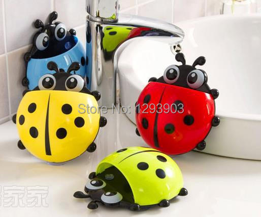bathroom accessories joaninha toothbrush holder rack banheiro bathroom set toothpaste bath ladybug sucker porta escova dente(China (Mainland))