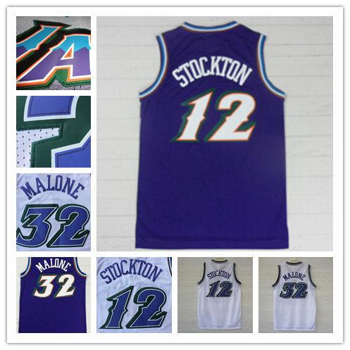 free shipping Utah #12 John Stockton purple Jersey #32 Karl Malone Jersey cheap authentic Snow mountains Basketball Jersey 110(China (Mainland))