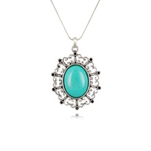 Free Shipping No Mini Order Turquoise Necklace Pendant Necklace Chain Vintage Jewelry Fashion For Women