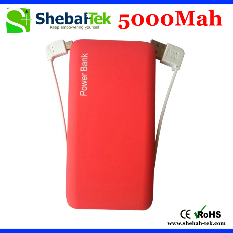 Real Capacity 2015 Hot Selling 5000mAh external protable battery Power bank with built in cable for all mobile device(China (Mainland))