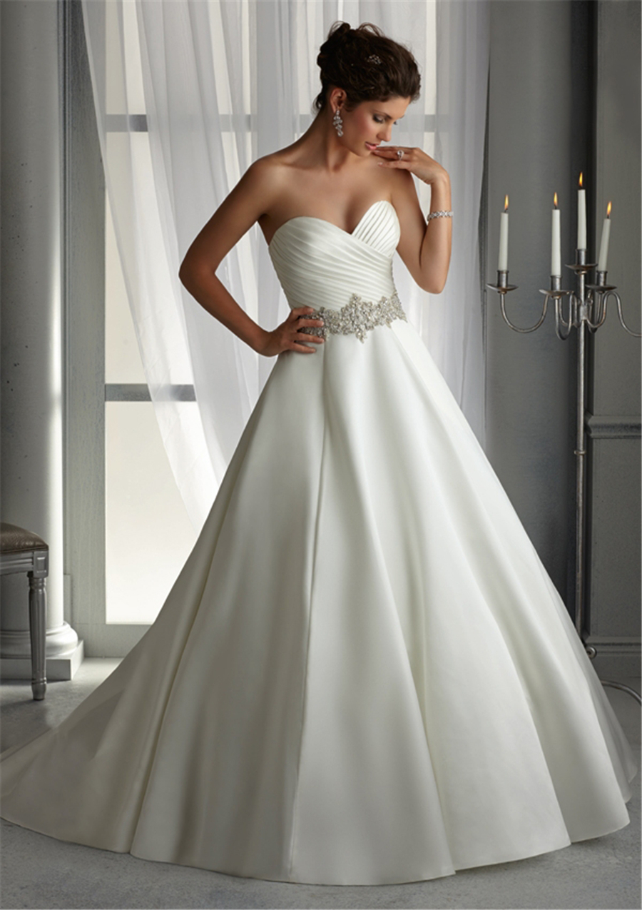 Plus size satin wedding dresses with pleating white ivory for White wedding dress cheap