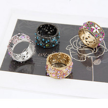 New Arrival Fashion Flower Enamel Round Finger Ring For Women Bijoux Exaggerated Europea and US Crystal Rings Jewellery