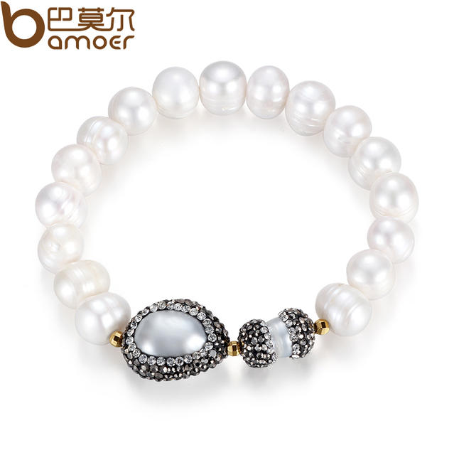 Bamoer 2016 девушка реальный натуральный белый перлы пресной воды для женщин высокое ...