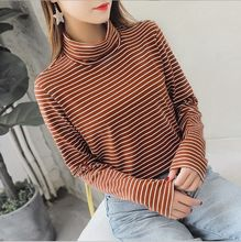 100kg New 2019 Womens Black White Khaki Striped Blouses with Long Sleeves Female Turtleneck Shirts Top Women Large Size clothing(China)
