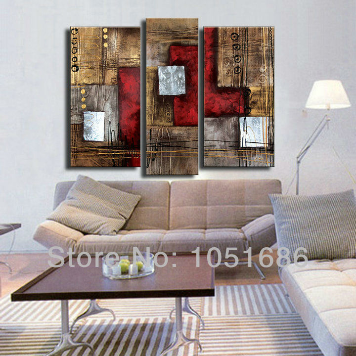 Buy hand painted 5 piece red modern abstract oil paintings for Moderne acrylbilder wanddekorationen