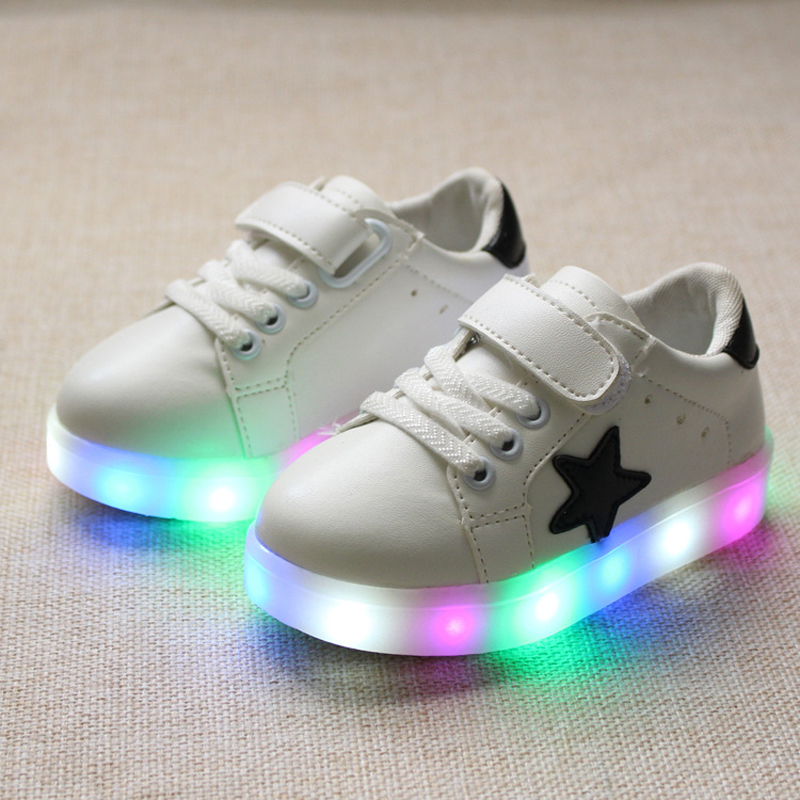 Eur21-30//Kids&Children Shoes With Light Luminous Glowing Sneakers For Girls&Boys Shoes LED Zipper Chaussure Enfant(China (Mainland))