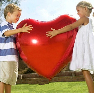 Wedding Balloon Supersize Large Red Heart Shap Foil Air Balloons Wedding Party Say Love Decorations Marriage Ballon Supplies(China (Mainland))