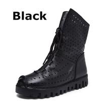 DONGNANFENG Kadınlar Eski Kadın anne ayakkabısı Daireler Boots Içi Boş Inek Hakiki Deri Domuz Derisi Dantel Up Kaymaz Boyutu 35-40 JMG-7205(China)
