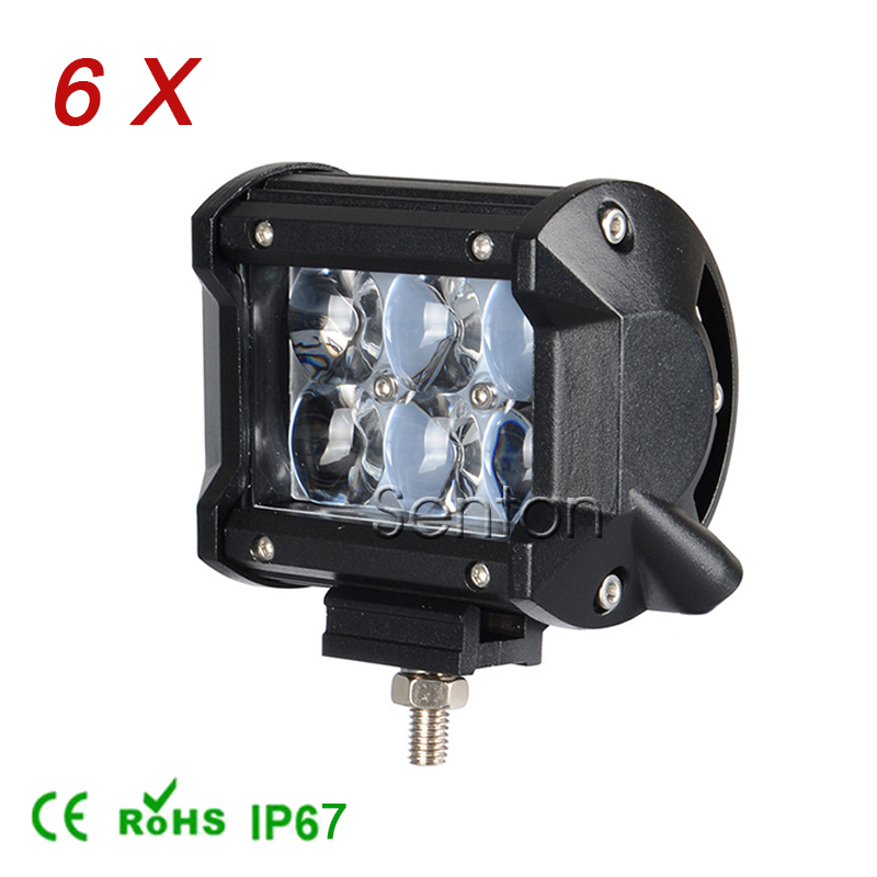 6pcs 4 inch 4D CREE 18W LED Work Light Bar 12V Spot For SUV 4x4 Offroad 4WD ATV Truck Tractor Motorcycle Car Driving Fog Lamps(China (Mainland))