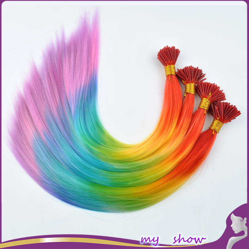 """50-100pcs/lot 16-18"""" I-tip Hair Extension Straight Rainbow Colorful Loop Grizzly Imitation Of Feather Hair Cosplay Costume Hair(China (Mainland))"""