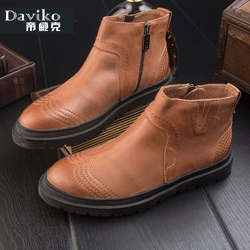 New Daviko free shipping fashion ankle winter boots comfortable men genuine leather footwear boots men shoes(China (Mainland))