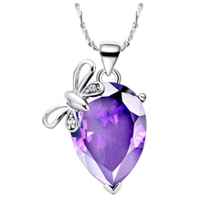 Noble Shining Gem Austrian Rhinestone Necklace Lovely Butterfly Tear Drop Pendant Top Quality White Gold Women Necklaces N486(China (Mainland))