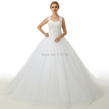 Vestidos De Novia Real Photo 2015 Bridal gowns Sweetheart Applique Lace up back chapel train tulle ball gown wedding dresses(China (Mainland))