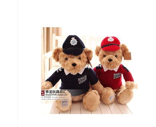 stuffed Britain police Couples teddy bears about 45 cm blue and red hat  teddy bears a pair plush toys soft doll gift s8278<br><br>Aliexpress