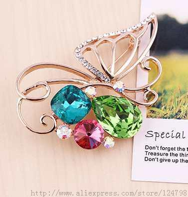Butterfly brooch, crystal mosaic colorful gorgeous glamor of high fashion accessories female forest elves geometric brooch(China (Mainland))