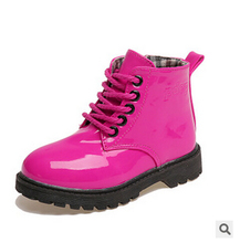 2015child leather boots  female child martin boots  boys shoes single shoes little girl spring baby boots(China (Mainland))