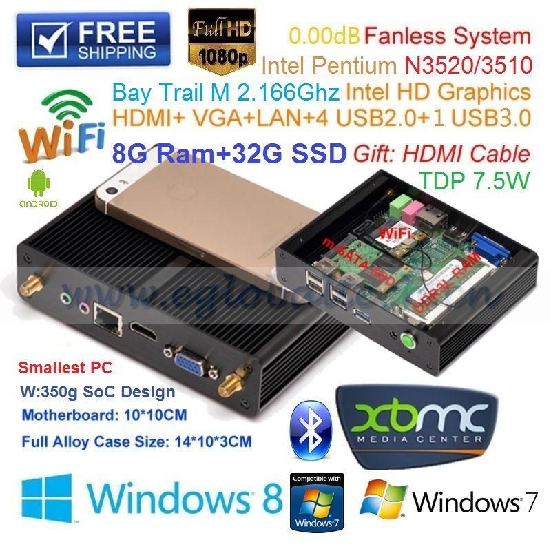 Мини ПК Eglobal/OEM ITX Intel Pentium N3510 8G Ram 32 SSD V7-N3510 мини пк eglobal oem intel pentium n3510 4g 16g ssd itx ultral nettop 1 hdmi 1 usb3 0 4 usb2 0 v7 n3510