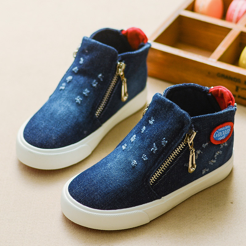 2016 Canvas Children Shoes Sport Breathable Boys Sneakers Brand Kids Shoes for Girls Jeans Denim Casual Canvas Shoes Size 25-36(China (Mainland))