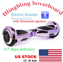 6.5 Inch two wheel balance scooter bluetooth speaker chrome Self Balancing scooter chrome hoverboard with remotecontrol key