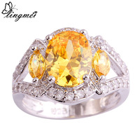 lingmei Luxuriant Jewelry Citrine White Topaz  Silver Ring Size 7 8 9 10 Noble Women Party Bijouterie Unisex Rings Wholesale