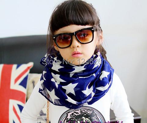 2014 New Parent-child Five-star Chiffon Scarf Female Shawl Paris Yarn Women Silk Scarf Girl Dress Scarves 140X35 Wholesale Price(China (Mainland))