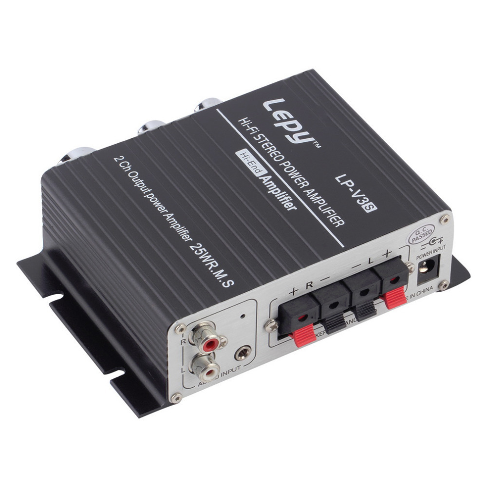 12V 25W Mini Hi-Fi Stereo Amplifier Amp mp3 For iPod Motorcycle and Car,free shipping.(China (Mainland))