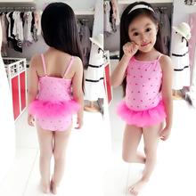 Print Pink One Piece Children Sweet Lace girs swimwear Baby Bathing Suit Flower Swimsuit Kids 2016 - Top Style Fashion Garment Company Ltd store