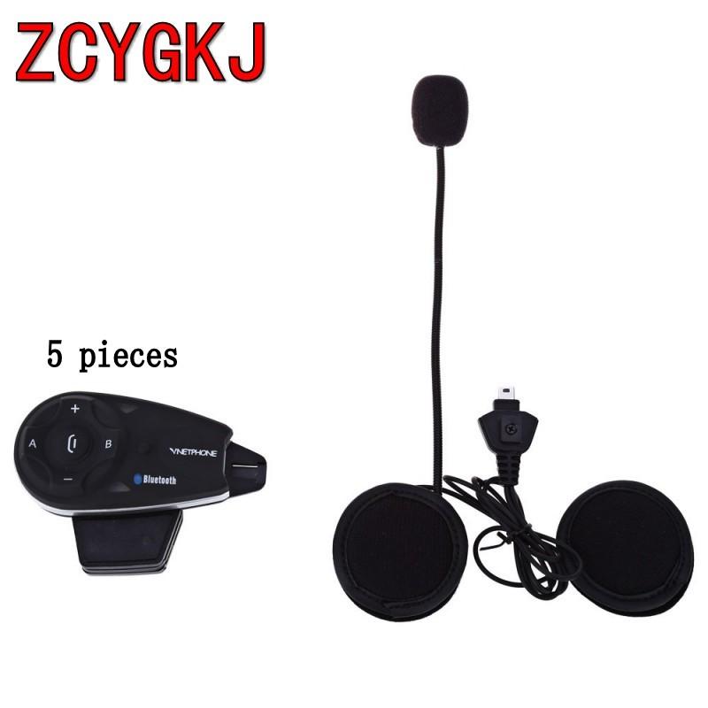 Фотография 5 pcs V5-1200m 5 Riders Motorcycle Helmet BT Bluetooth Intercom Interphone Headset with FM Radio Stereo Headphone