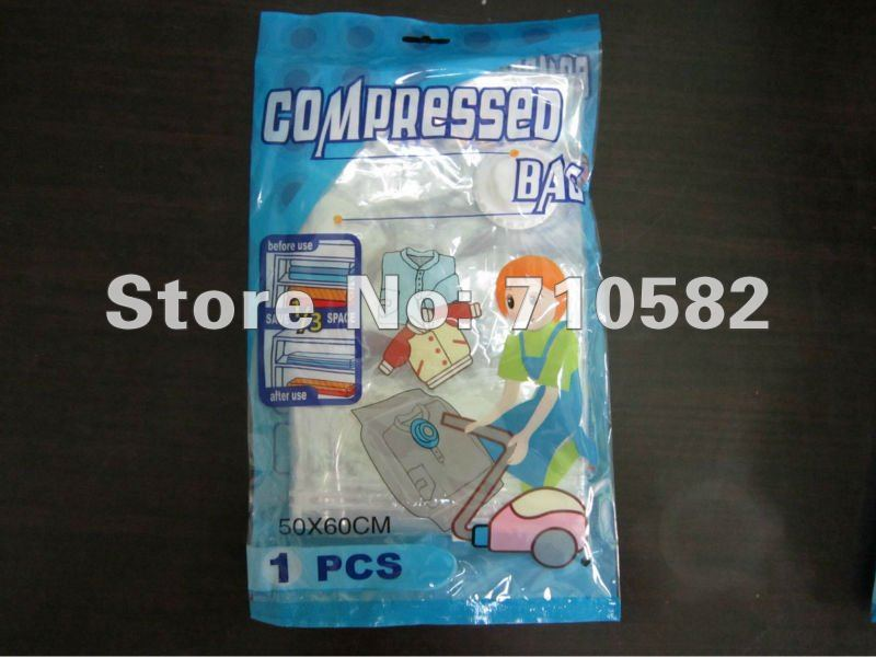 New Package!!!Free shipping 3pcs/lot 50*60 Vacuum storage bag Space bag Compressed bag for clothes(China (Mainland))