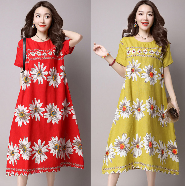 2016 Womens New Summer Casual Loose Gray/Coffee Cotton Linen Short Sleeve O-Neck Flowers Print Long Dresses(China (Mainland))