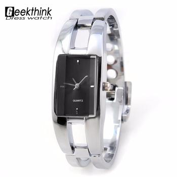 2016 Brand Geekthink rectangle steel band female clock Woman Watch Lady Bangle Bracelet quartz Wrist watch Cheap gift wholesale