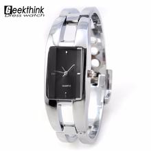 2016 Brand Geekthink rectangle steel band female clock Woman Watch Lady Bangle Bracelet quartz Wrist watch Cheap gift Wholesale(China (Mainland))