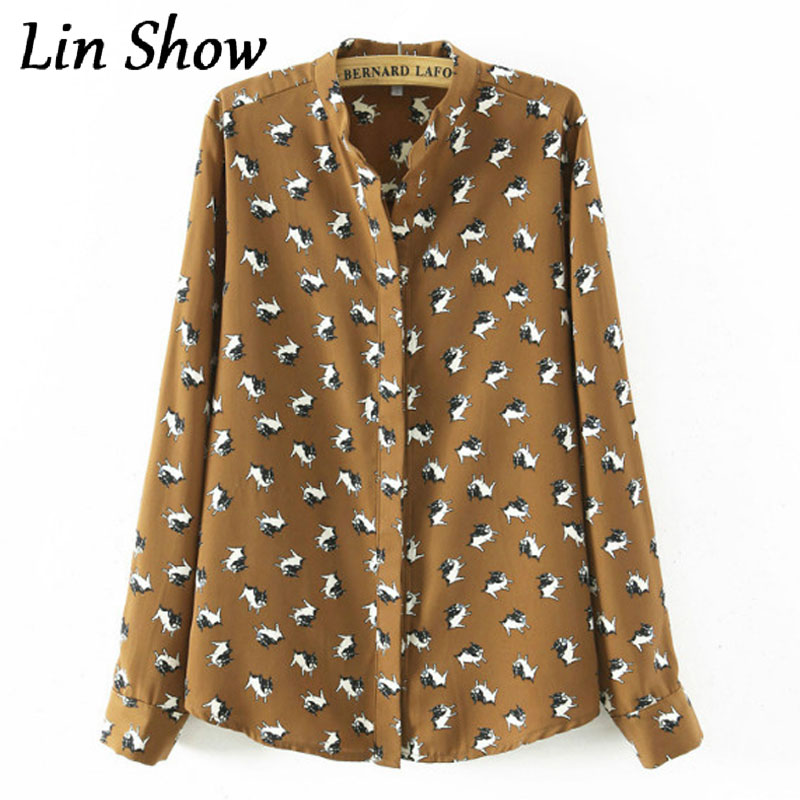 Dog Printed Blouses 2016 Spring Casual Slim Long Sleeve Woman Clothes Stand Collar Elegant Femme Blusas Office Woman Shirt Tops(China (Mainland))