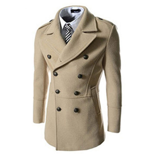 2014 New Brand Double Breasted Mens Pea Coat Fit Slim Male Winter Wool Coat Men Long Coat Jackets Outdoors Sobretudo Masculino(China (Mainland))