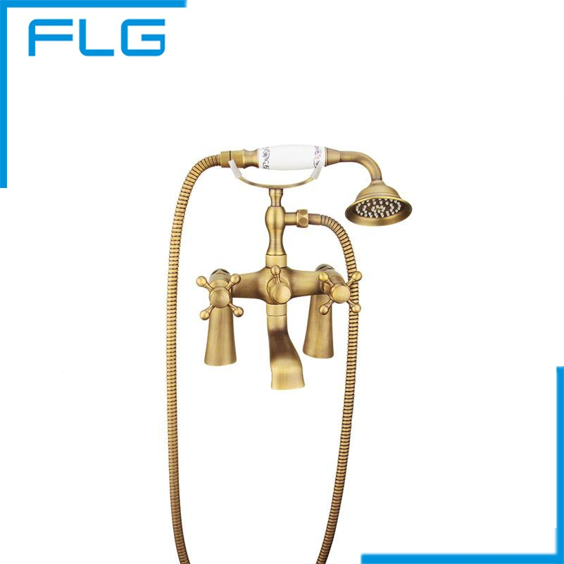 Free Shipping Bronze Antique New Wall Mounted Shower Faucet Bathroom Bathtub Handheld Shower Tap Mixer Faucet(China (Mainland))